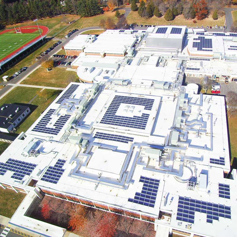 Trumbull High School CT solar Installation managed by Greenskies